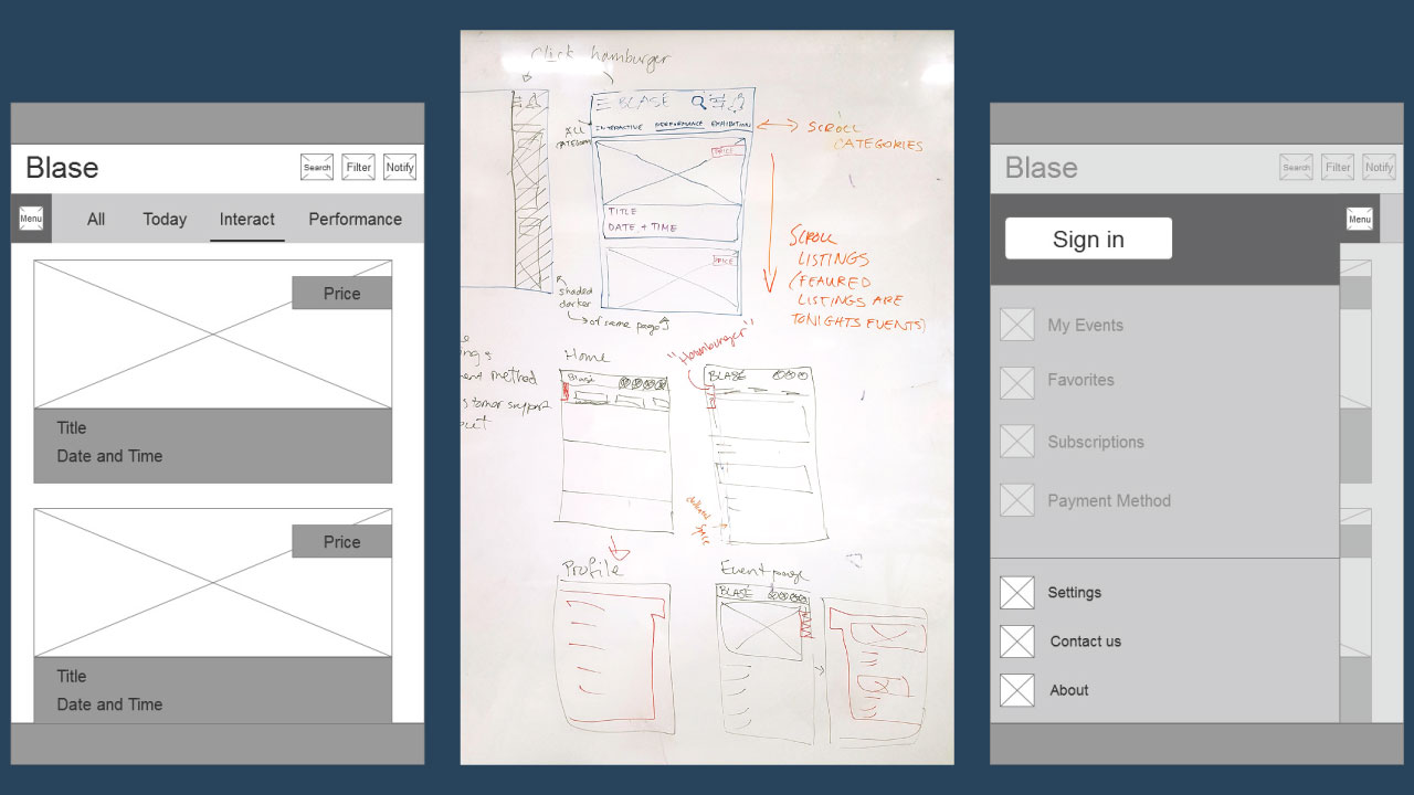 Blase brainstorming and iterations